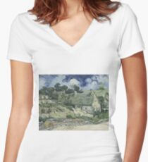 Vincent Van Gogh  Post- Impressionism Oil Painting , Thatched Cottages at Cordeville, 1890 Women's Fitted V-Neck T-Shirt