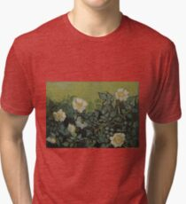 Vincent Van Gogh - Wild roses, Famous Painting. Impressionism. Van Gogh Tri-blend T-Shirt