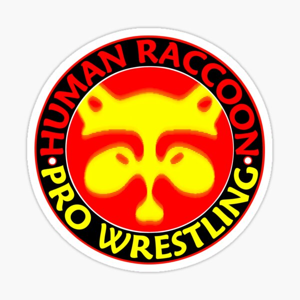Human Raccoon Pro Wrestling Logo Sticker