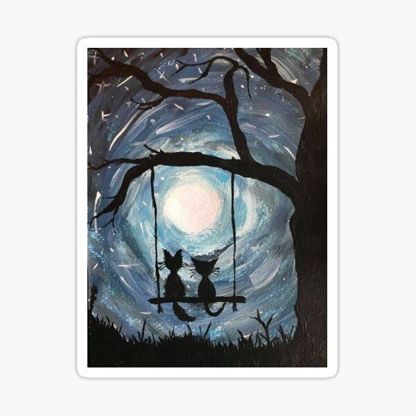Starry night galaxy cats. Sticker