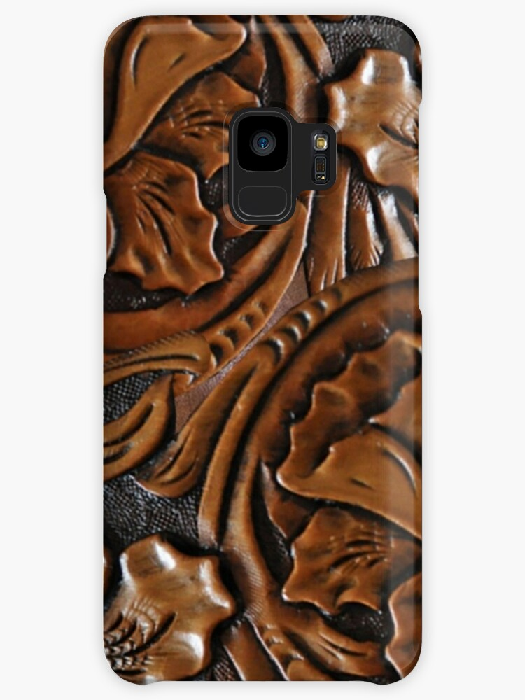 Tooled Leather Look, Dark Brown Floral Design by Melody Koert