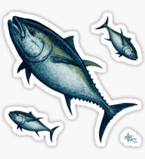 """Bluefin Tuna"" by Amber Marine ~ Watercolor painting, art © 2016 Sticker"