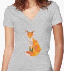 Geometric Fox Women's Fitted V-Neck T-Shirt