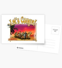 Turtle and Tortoise Conga Line on the Beach at Sunset Postcards