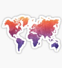 World Map Watercolor Grunge Sticker