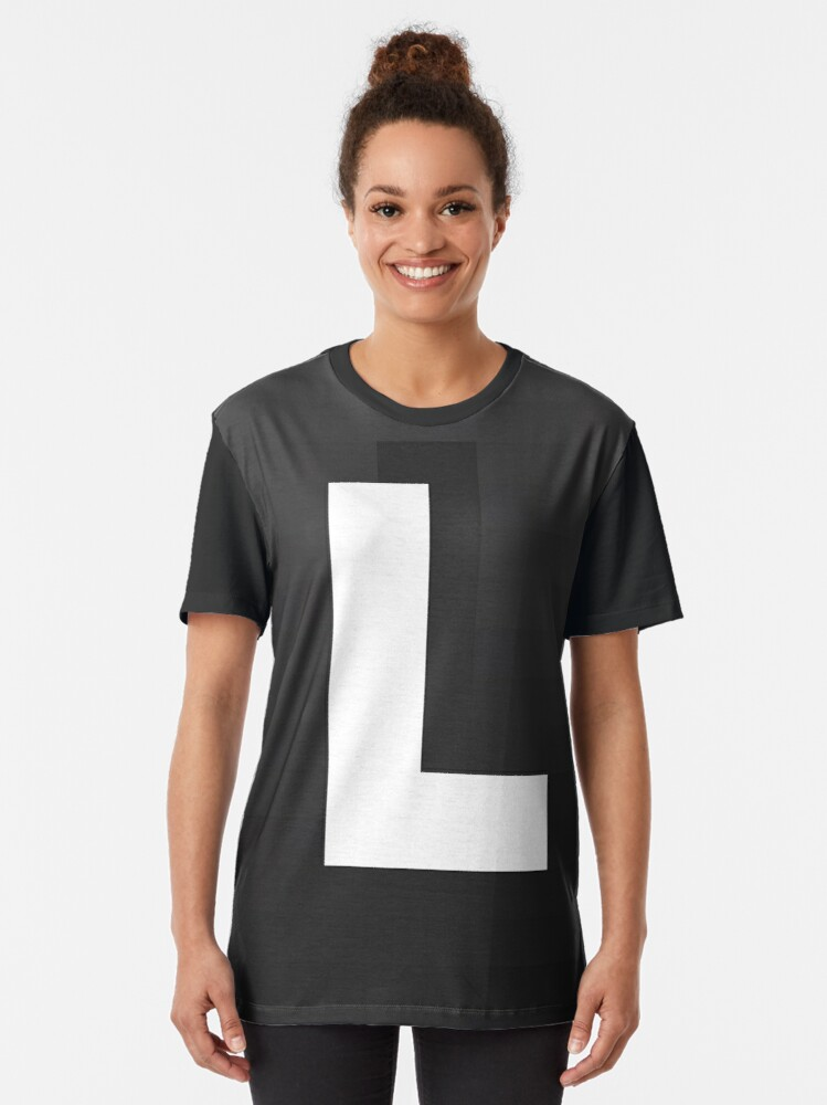Alternate view of #L, #black, #white, #chess, #checkered, #pattern, #abstract, #flag, #board Graphic T-Shirt