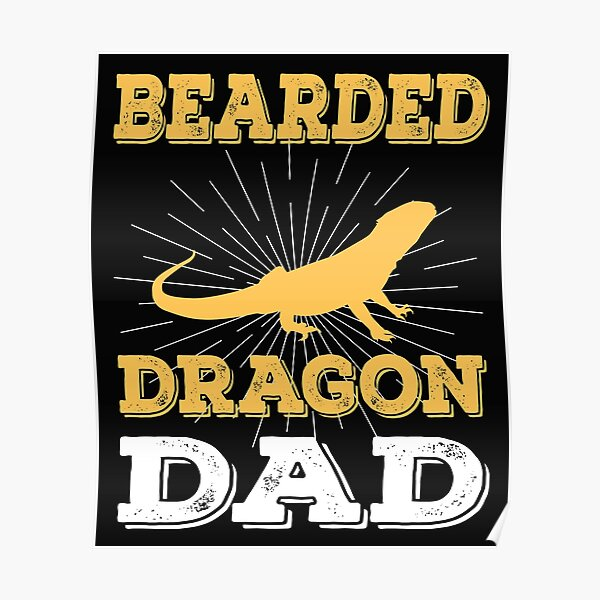 funny distressed  bearded dragon dad vintage gift Poster
