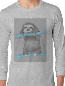 Cute adorable sloth illustration oil pastel Long Sleeve T-Shirt