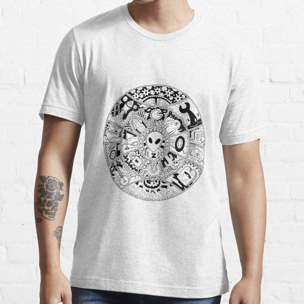 Alien Mandala Black and White Essential T-Shirt