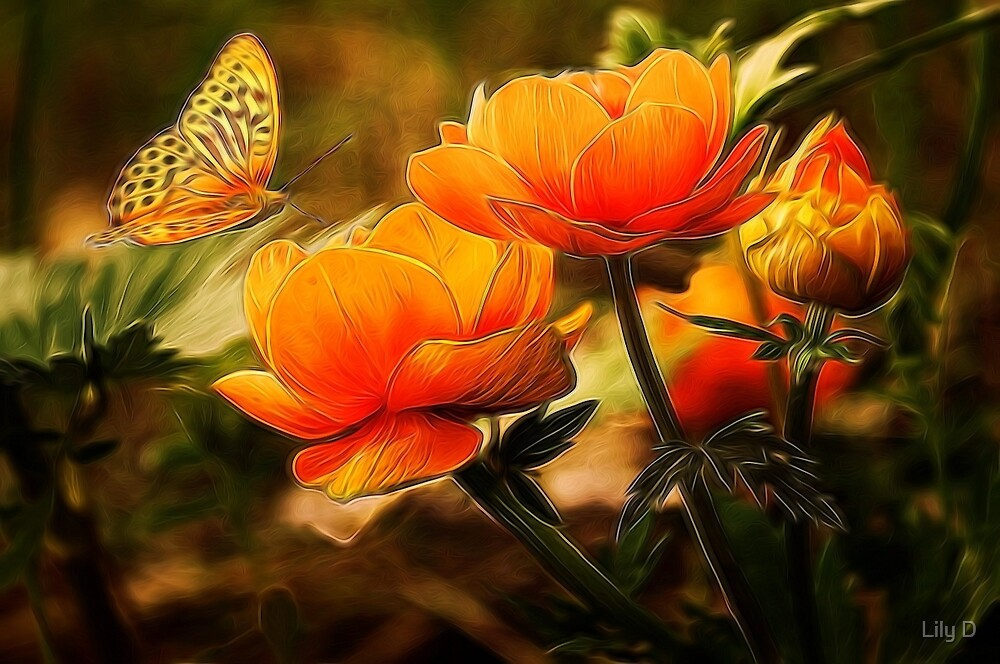 Butterfly and orange flowers by Art Dream Studio
