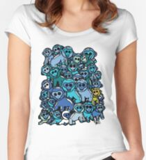 The Shiny Blue Monkey Pile Accepts the Odd Monkey Out Women's Fitted Scoop T-Shirt