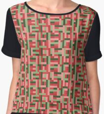 Line Block Pattern Women's Chiffon Top