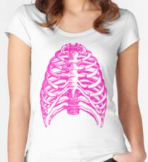 Skeleton rib cage - pink Women's Fitted Scoop T-Shirt
