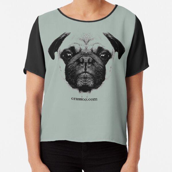 mops puppy white - french bulldog, cute, funny, dog Chiffon Top
