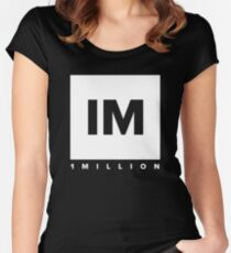 1 MILLION Dance Studio Logo (White Version) Women's Fitted Scoop T-Shirt