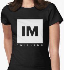 1 MILLION Dance Studio Logo (White Version) Women's Fitted T-Shirt