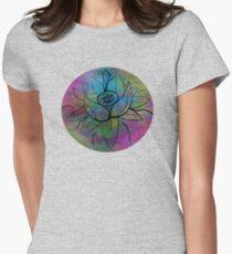 Pixel Tie-Dye Dream Lotus Seamless Pattern Womens Fitted T-Shirt