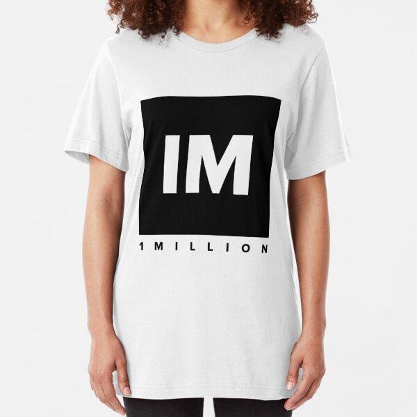 1 MILLION Dance Studio Logo (Black Version) Slim Fit T-Shirt
