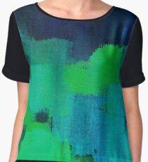 Blue and green abstract Women's Chiffon Top