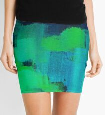 Blue and green abstract Mini Skirt