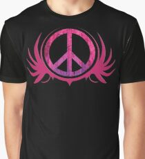 Peace Sign with Grunge Texture and Wings Graphic T-Shirt