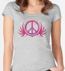 Peace Sign with Grunge Texture and Wings Women's Fitted Scoop T-Shirt