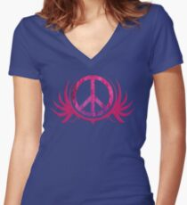 Peace Sign with Grunge Texture and Wings Women's Fitted V-Neck T-Shirt