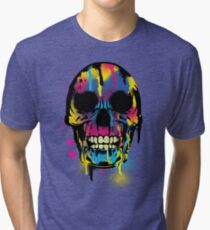 Cool Skull with Colorful Paint Drips and Splatters  Tri-blend T-Shirt