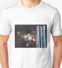 Adriaen Van Der Spelt  - Still Life With A Flower Garland And A Curtain 1658. Still life with flowers: still life with flowers, flowers, blossom, nature, botanical, floral , flora, wonderful flowers T-Shirt