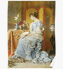 Agapit Stevens - Indecision. Woman portrait: sensual woman, femine, memories, memory, dream, doubt, sorrow, jewelry, gifts, beautiful dress, tenderness Poster