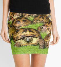 Greek Tortoise Group on Grass Background Mini Skirt
