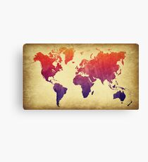 Weltkarte Aquarell Grunge Leinwanddruck