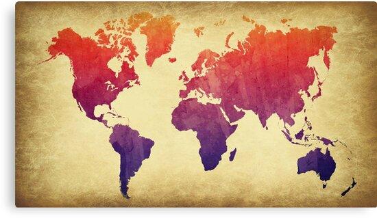World Map Watercolor Grunge by amwats