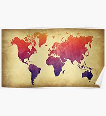 World Map Watercolor Grunge Poster