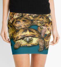 Greek Tortoise Group on Gray-Blue Background Mini Skirt