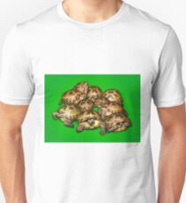 Greek Tortoise Group on Bright Green Background T-Shirt