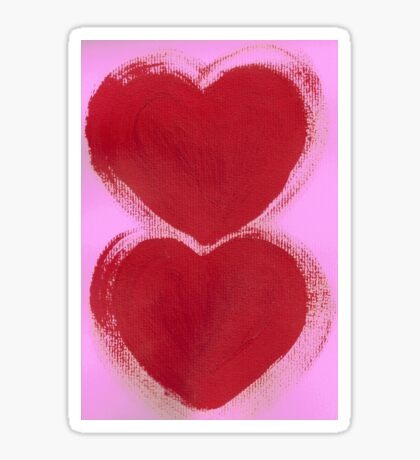 Double Hearts in Rouge Red on Pretty Pink Sticker