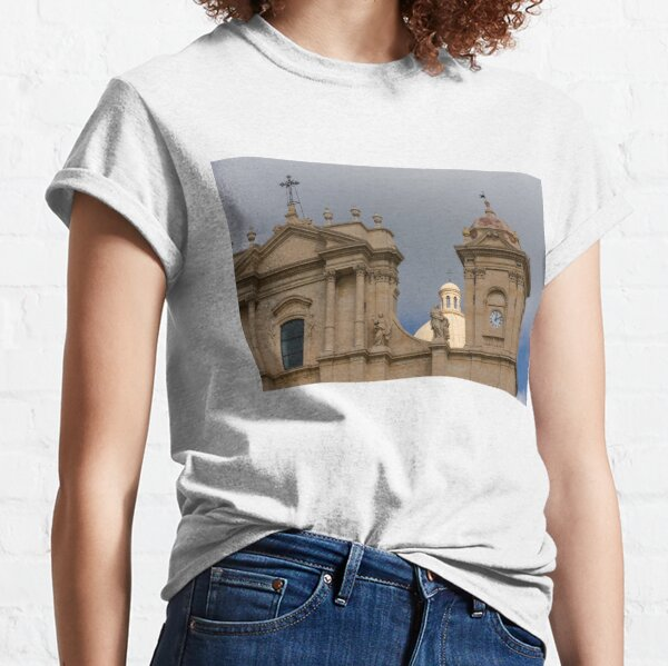 A Well Placed Ray of Sunshine - Noto Cathedral Saint Nicholas of Myra Against a Cloudy Sky Classic T-Shirt