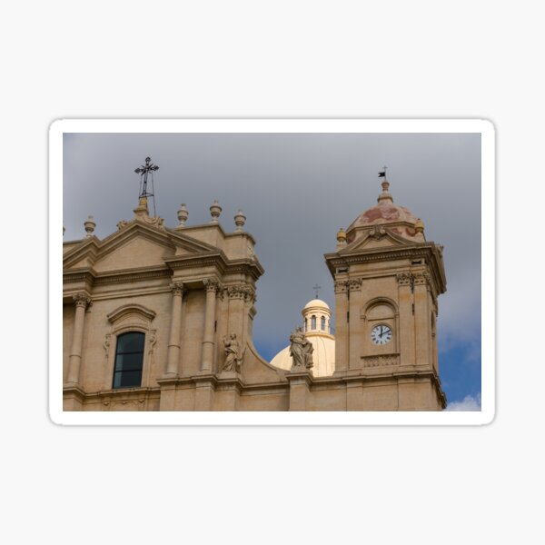 A Well Placed Ray of Sunshine - Noto Cathedral Saint Nicholas of Myra Against a Cloudy Sky Sticker