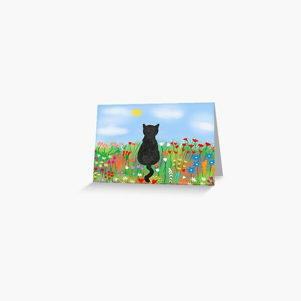 Cat in the meadow  Greeting Card
