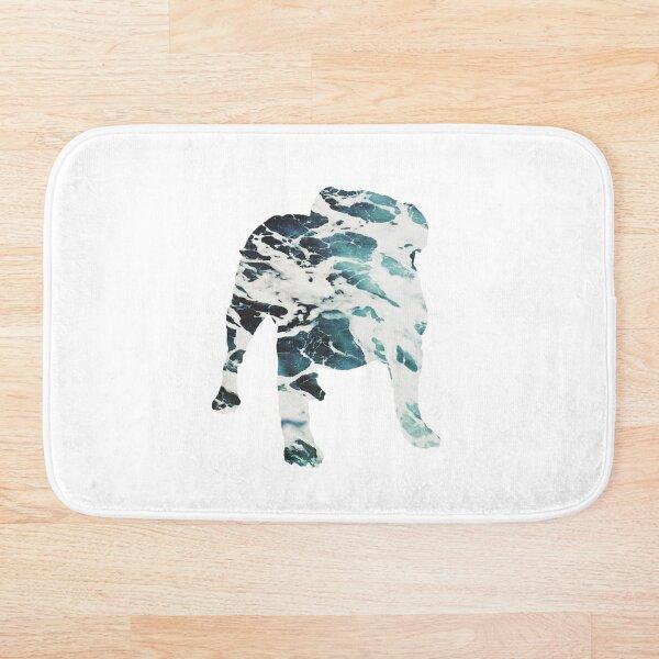 English Bulldog Silhouette - Ocean waves Bath Mat