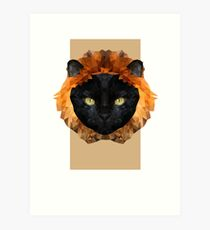 black cat lion digital design  Art Print