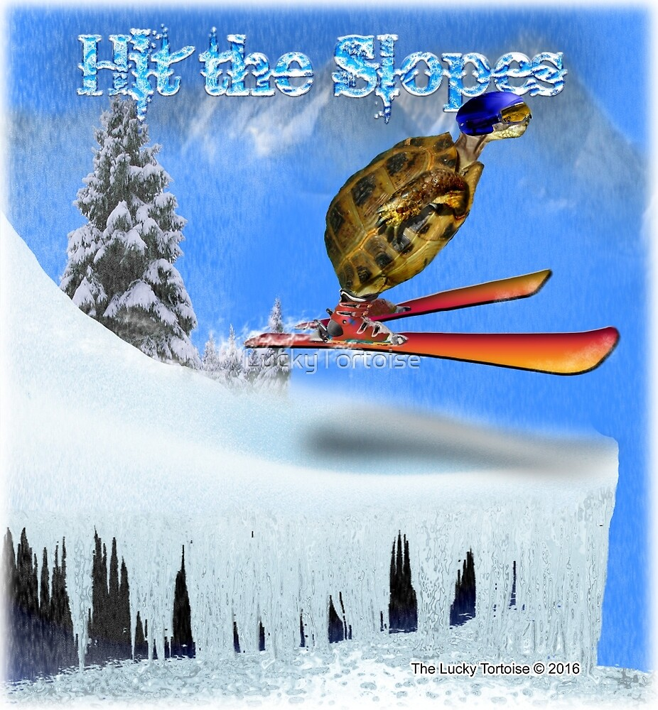 Tortoise Skiing on a Mountain by LuckyTortoise