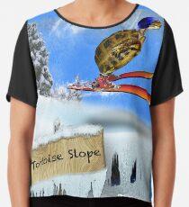 Skiing Tortoise Slope Chiffon Top