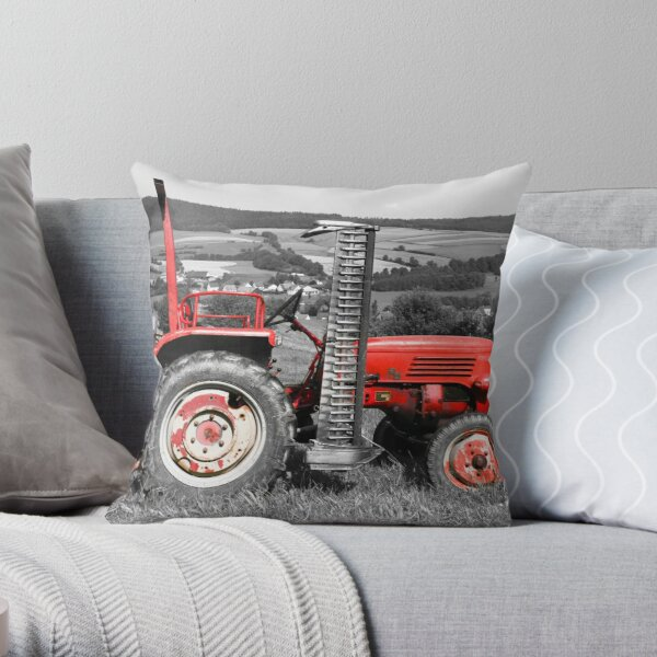 Red old tractor Throw Pillow