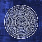 Intricate Hand Drawn White And Navy Blue Mandala  by Zedart