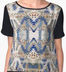 Tribal, Native American, Geometric, Blue Brown Pattern Chiffon Top