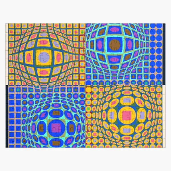 Stained Glass, Op Art. Victor #Vasarely, was a Hungarian-French #artist, who is widely accepted as a #grandfather and leader of the #OpArt movement Jigsaw Puzzle