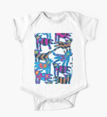 Colorful Abstract Coyote Art Duvet Cover One Piece - Short Sleeve