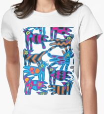 Colorful Abstract Coyote Art Duvet Cover Women's Fitted T-Shirt